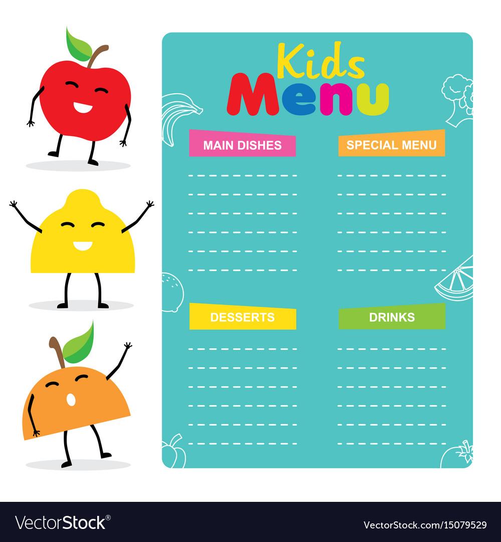 Kids menu template vector image