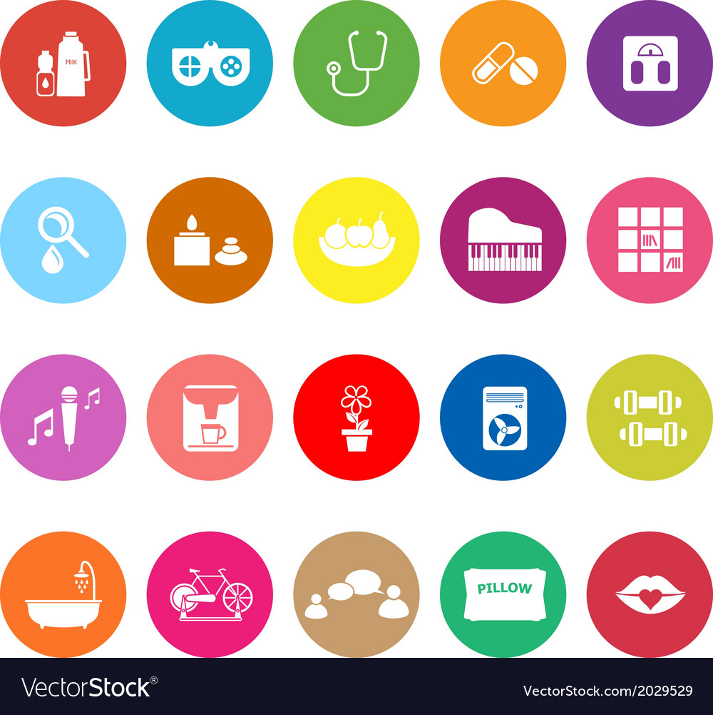 Wellness background  Wellness flat icons on white background Royalty Free Vector