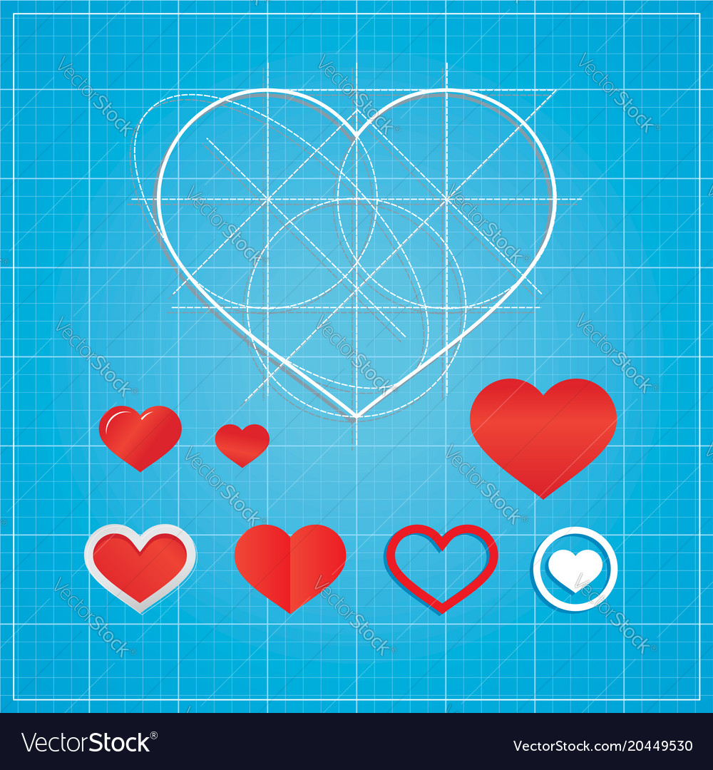 Holiday card hearts on blueprint paper royalty free vector holiday card hearts on blueprint paper vector image malvernweather Image collections
