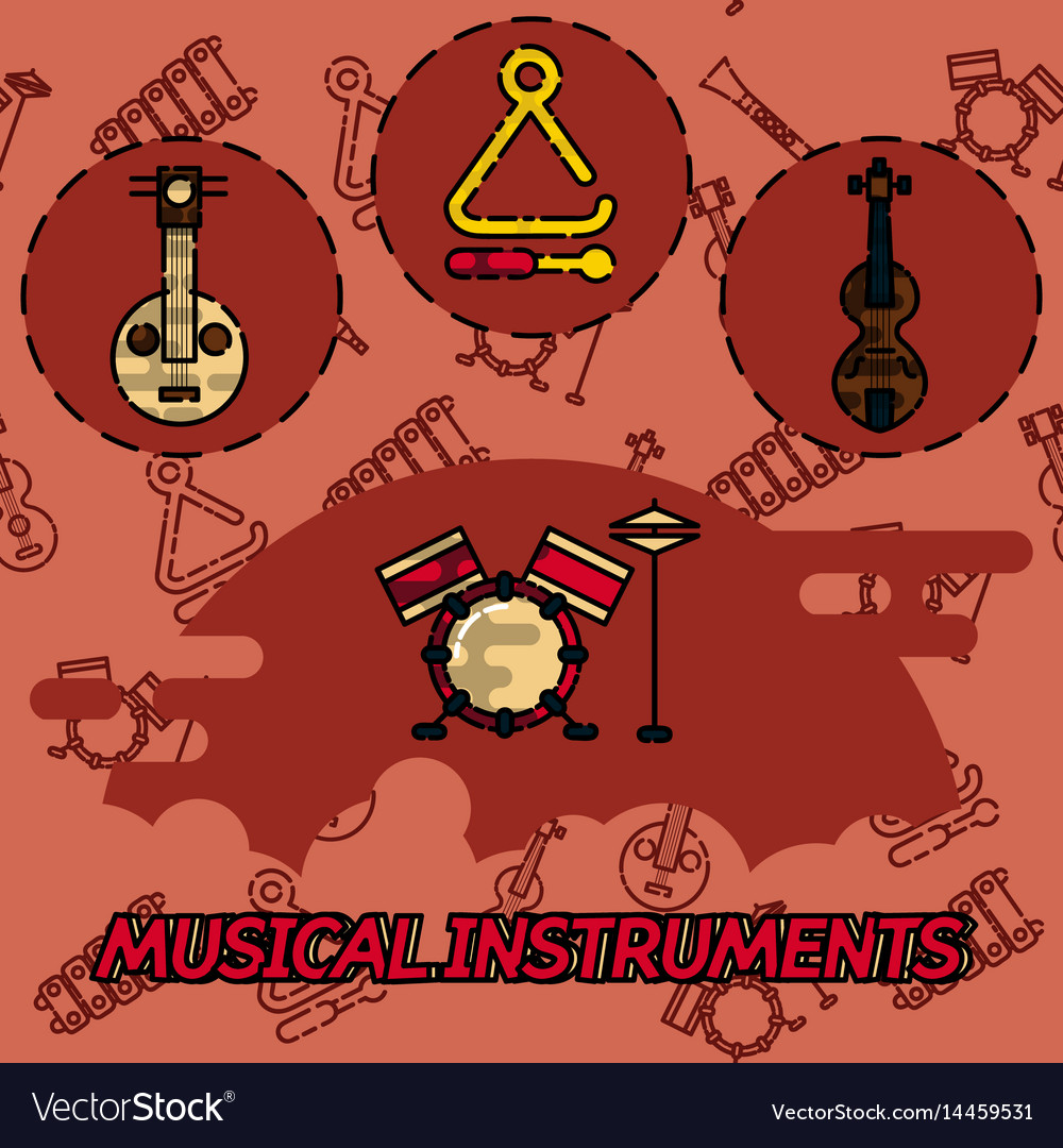 Musical instruments flat concept icons vector image