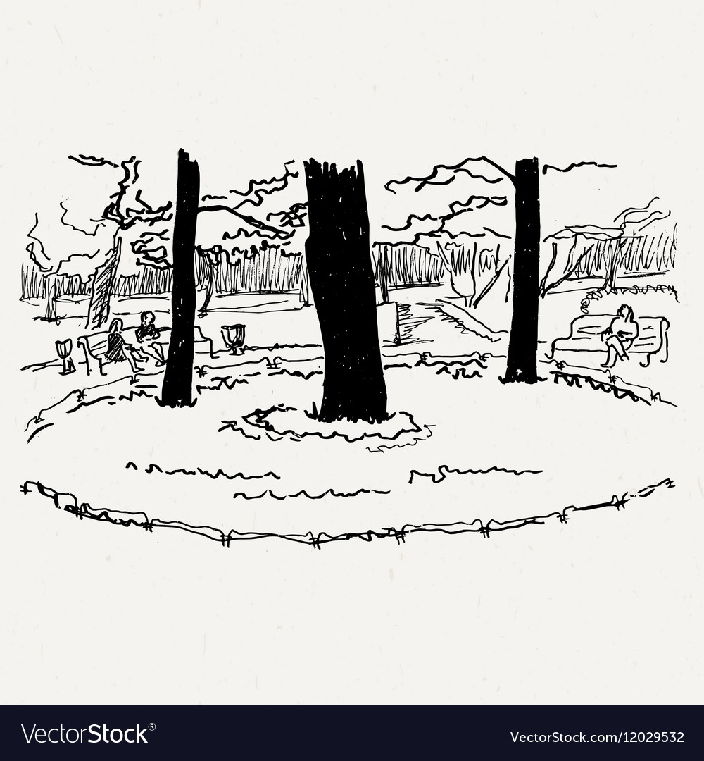 Landscape nature park trees and bushes vector image
