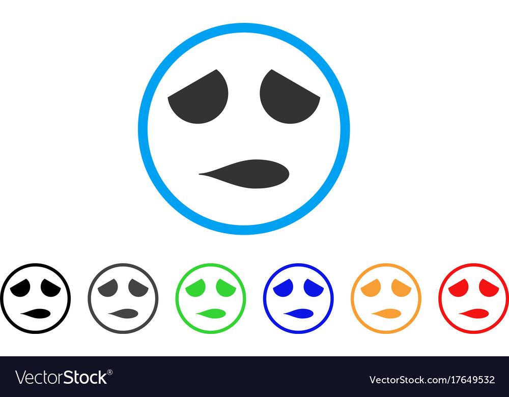 Sad emoticon smile rounded icon vector image