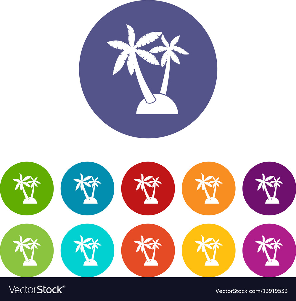 Palm trees set icons vector image