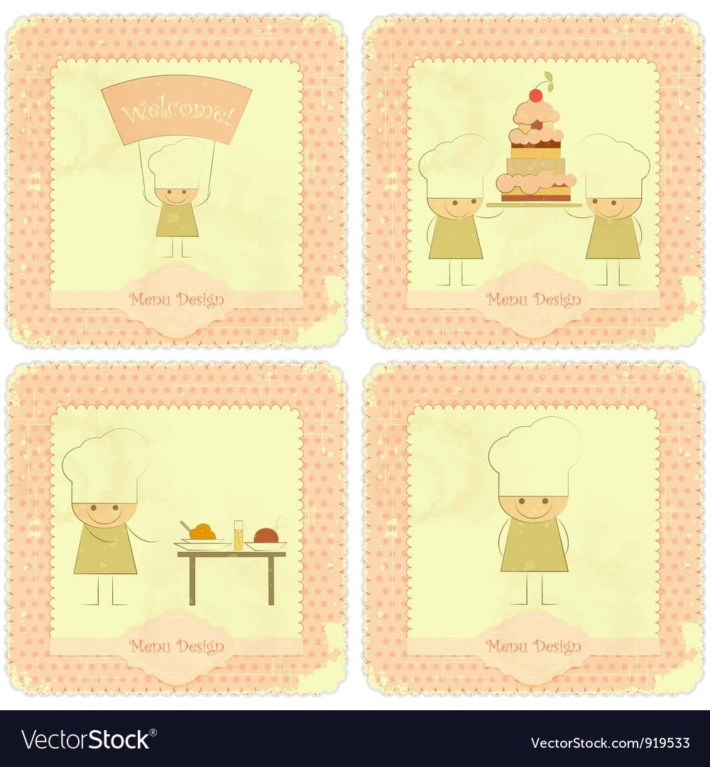 Vintage Set of kids menu vector image