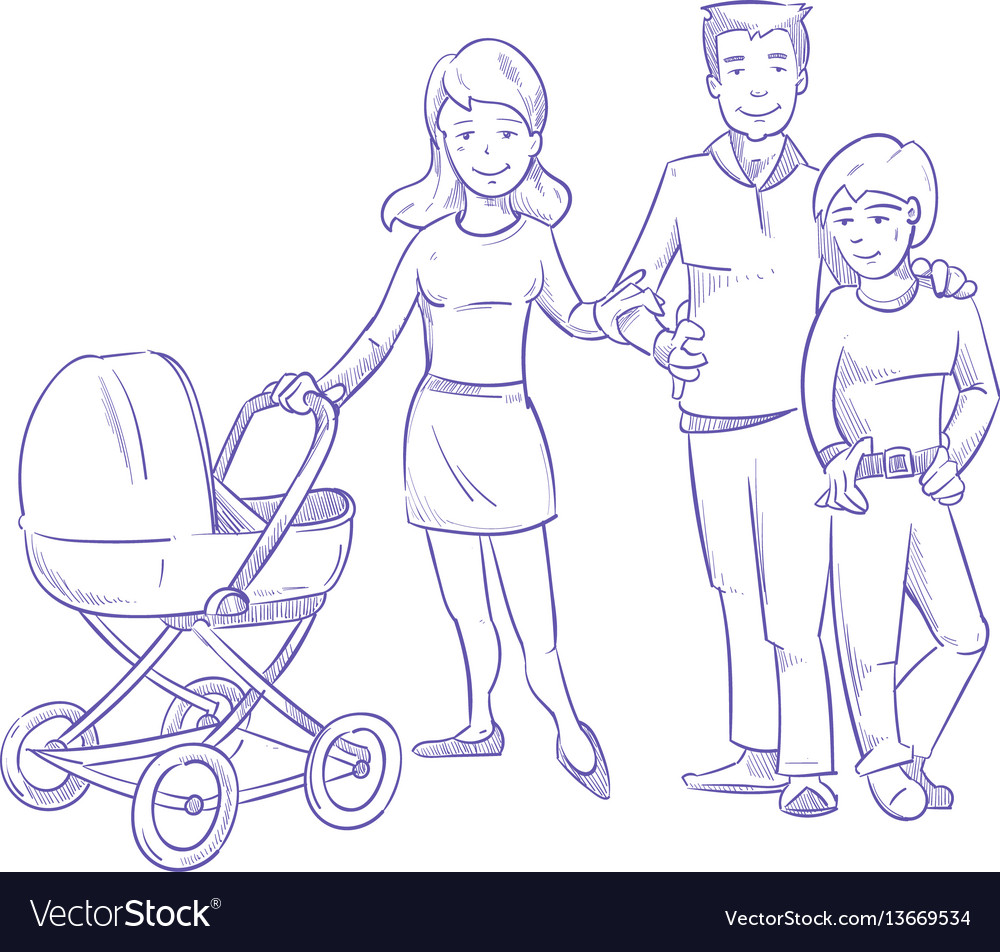 Happy young family with child and baby in stroller vector image