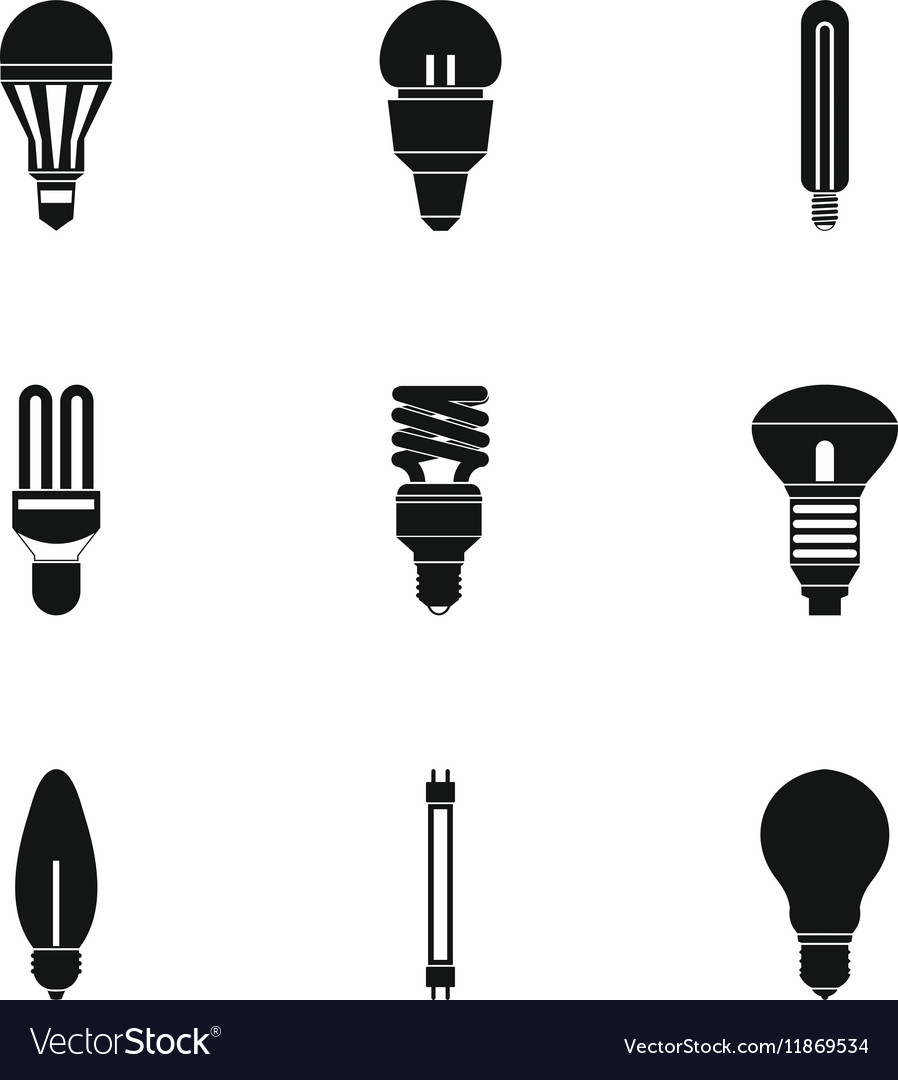 Lamp icons set simple style vector image