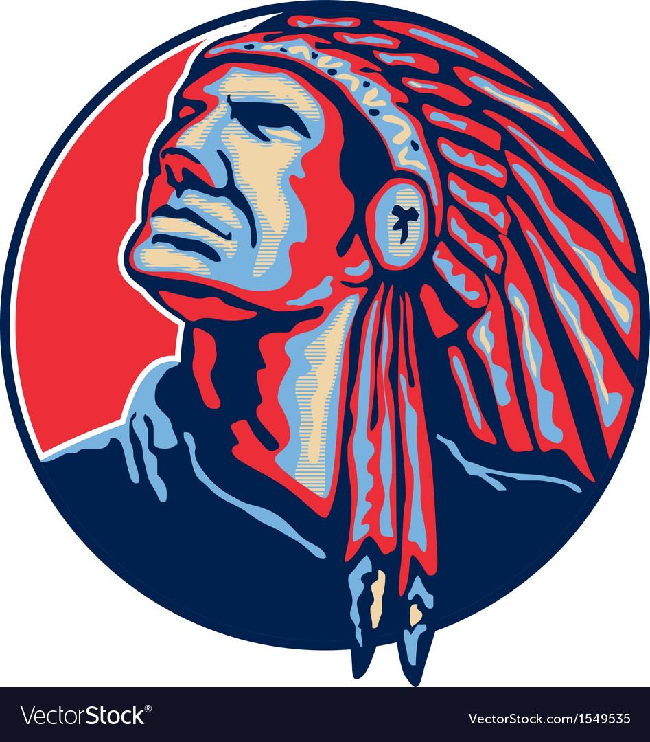 Native American Indian Chief Retro vector image