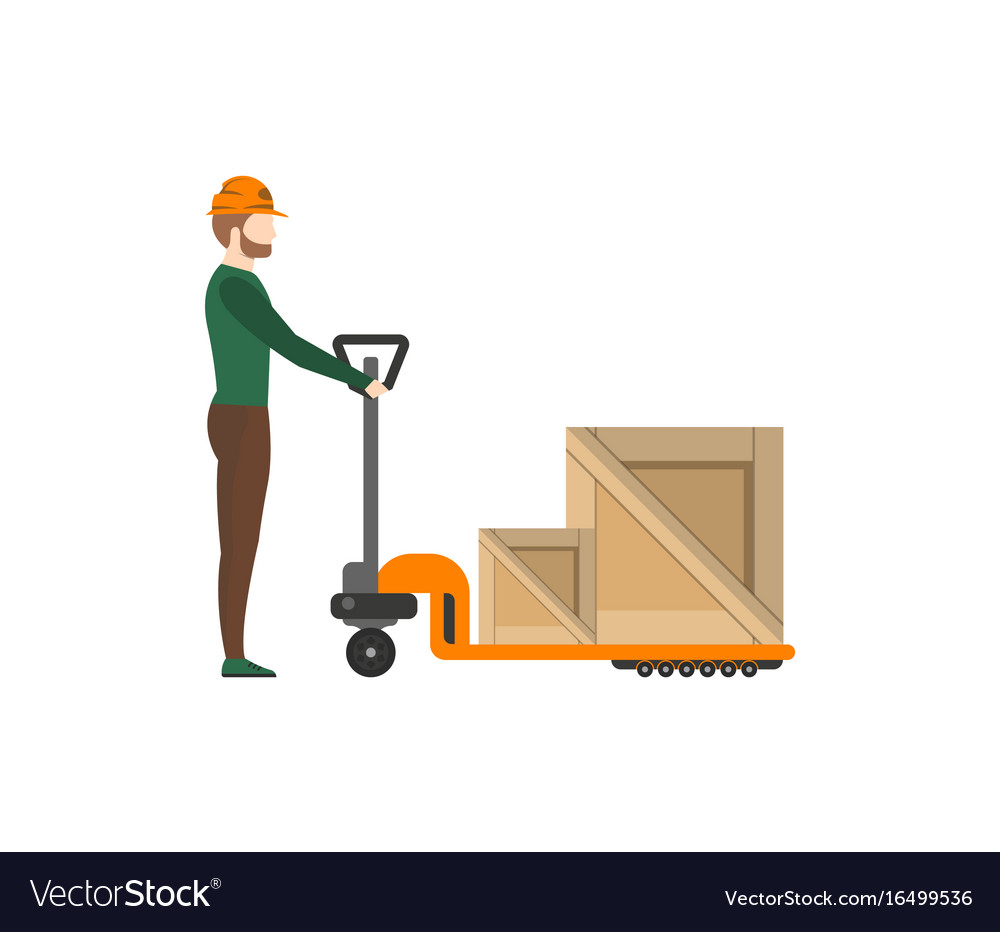 Delivery postman pushing trolley with boxes vector image