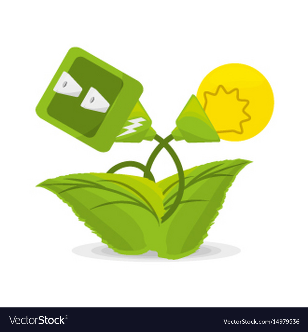 Plant related with alternative energy for save the vector image