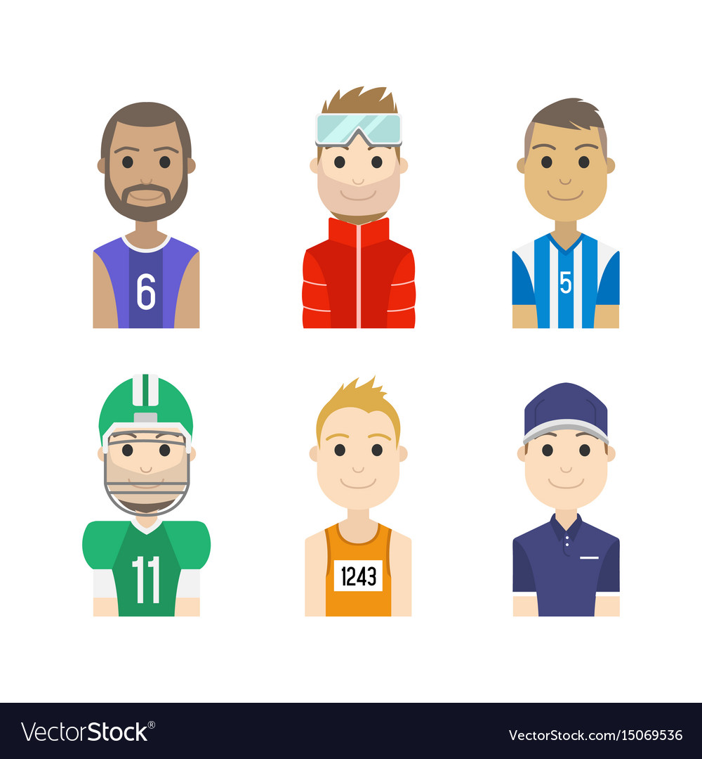 Simple people avatar man sports character vector image