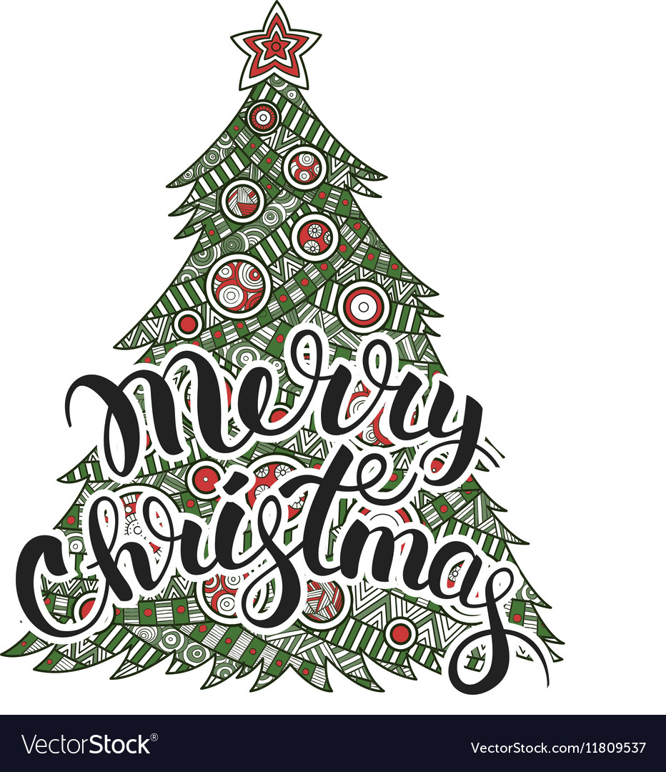Calligraphy lettering Merry Christmas vector image