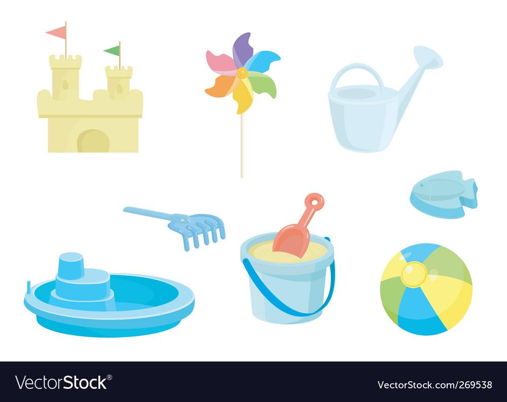 Beach toys icons set vector image