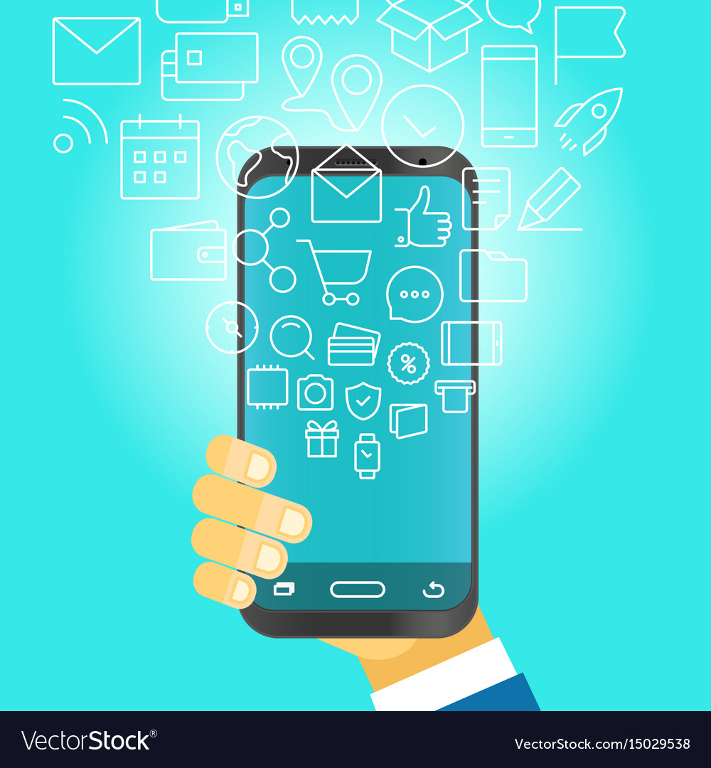 Man holding modern smartphone with falling icons vector image