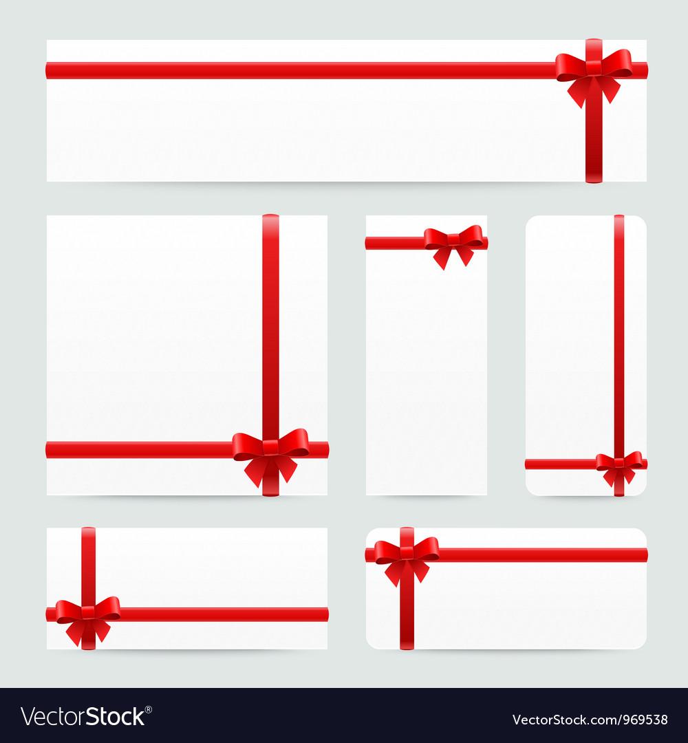 Red bows and ribbons set vector image