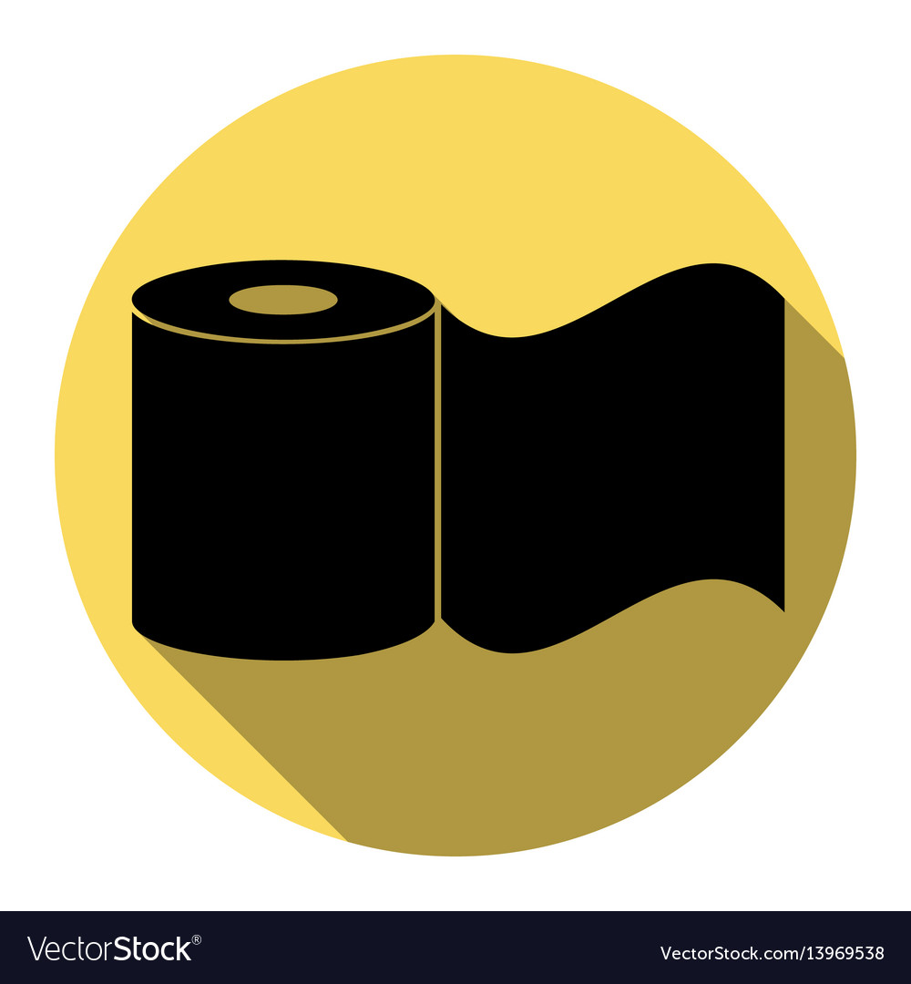 Toilet paper sign flat black icon with vector image