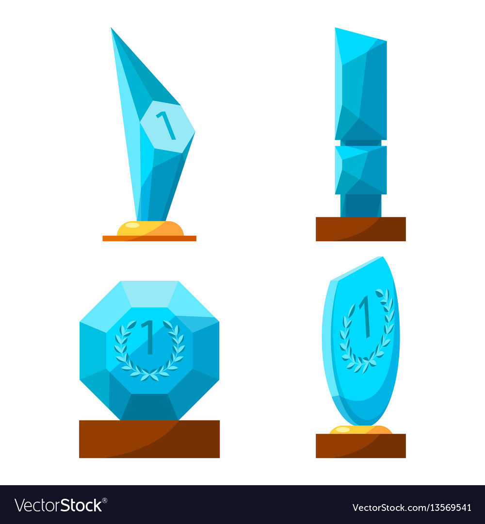 Trophy glass awards collection rewards of vector image