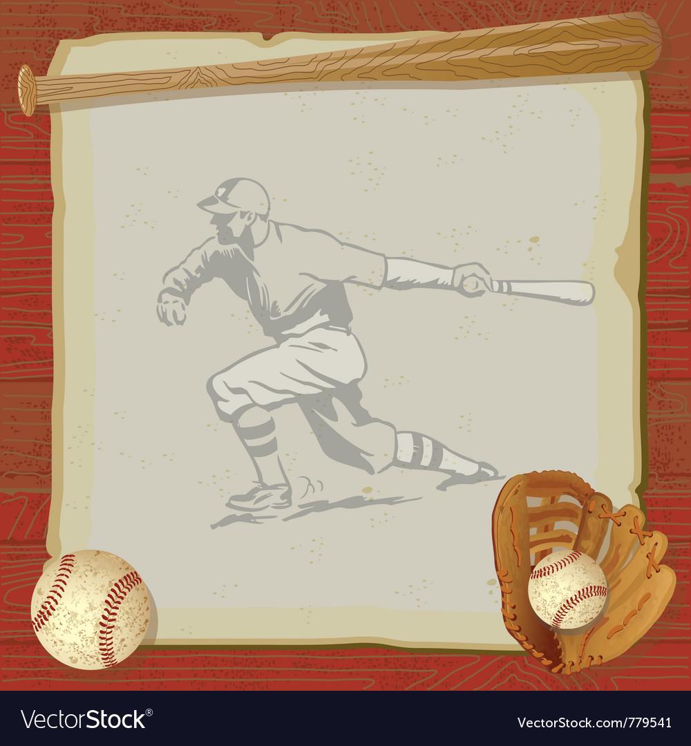 Vintage baseball party vector image