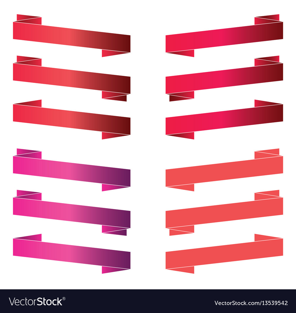 Red banners and ribbons isolated on white vector image