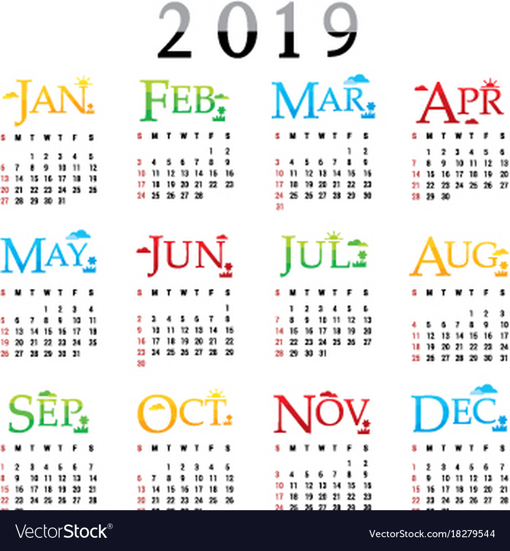 Modern 2019 2020 Mid Year Diary: Calendar Planner Happy New Year 2019 Royalty Free Vector