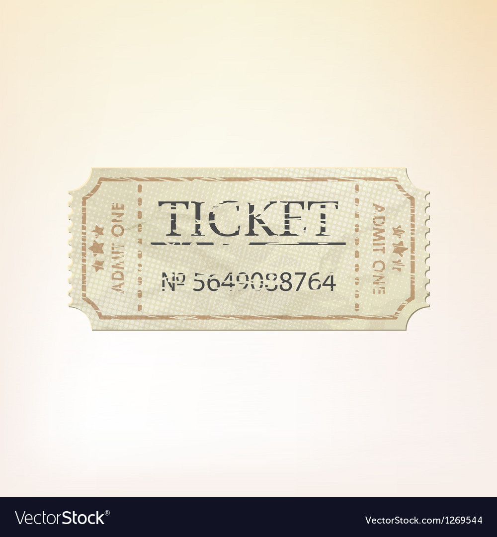 Old vintage paper ticket with number EPS 8 vector image