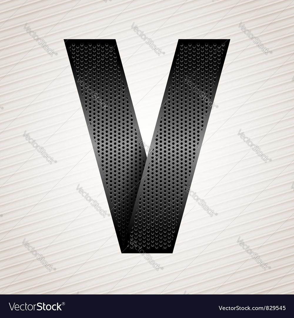 Letter metal ribbon - V vector image