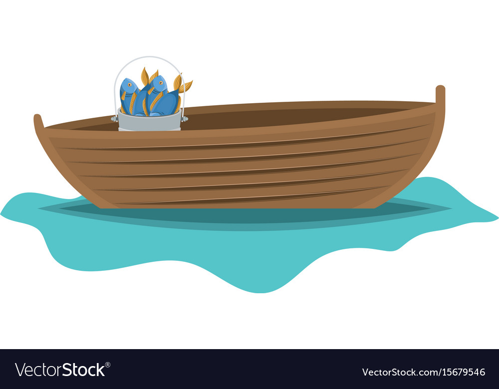 Color silhouette wooden fishing boat in lake with Royalty ...