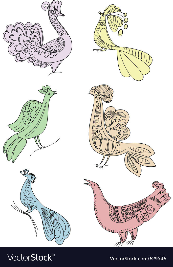 Birds silhouette drawings vector image