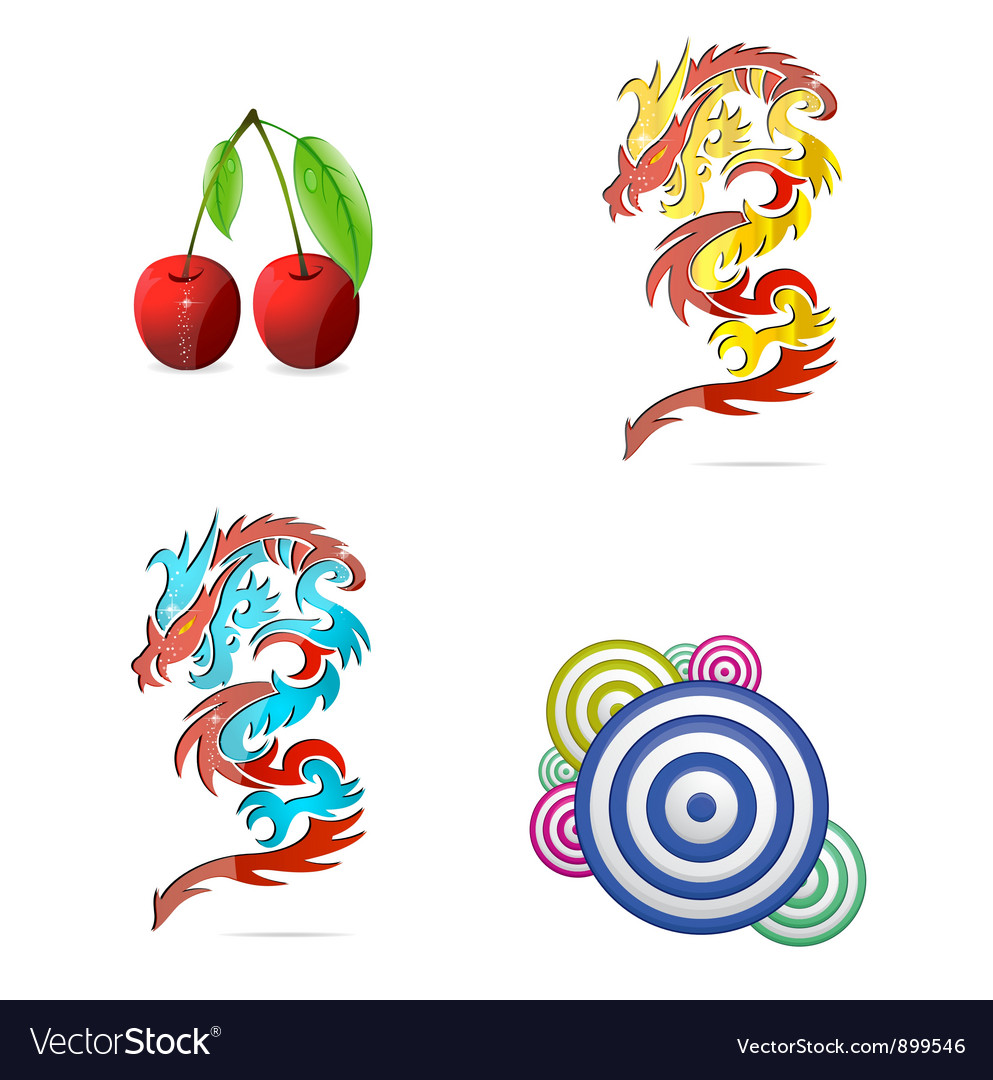 Colored eco and abstract symbols set vector image