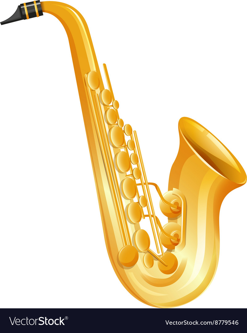 Golden saxophone on white background vector image
