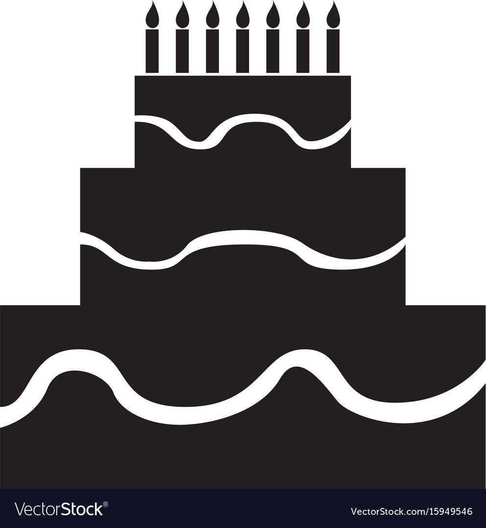 Isolated Birthday Cake Silhouette Royalty Free Vector Image