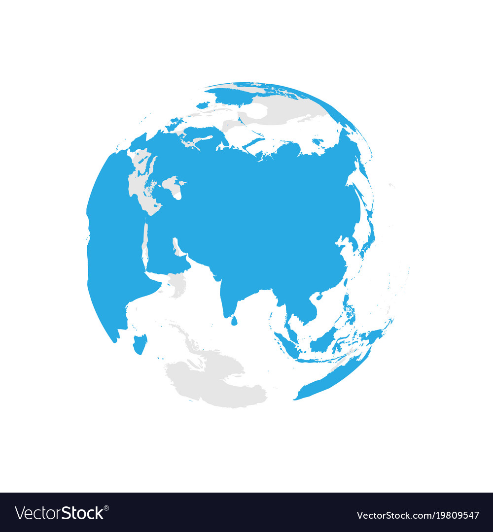 Earth globe with blue world map focused on asia vector image gumiabroncs Images