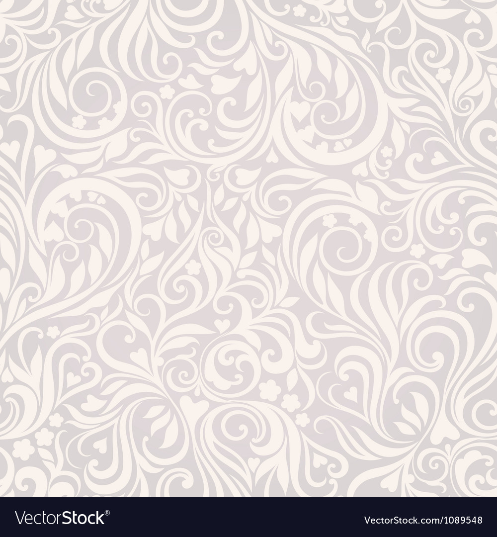 Seamless floral lightgrey background vector image