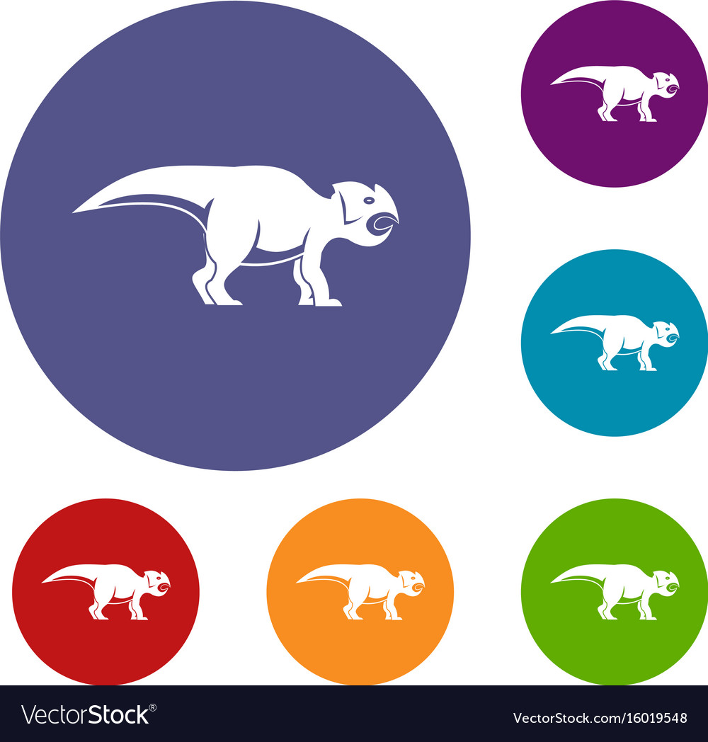 Ceratopsians dinosaur icons set vector image