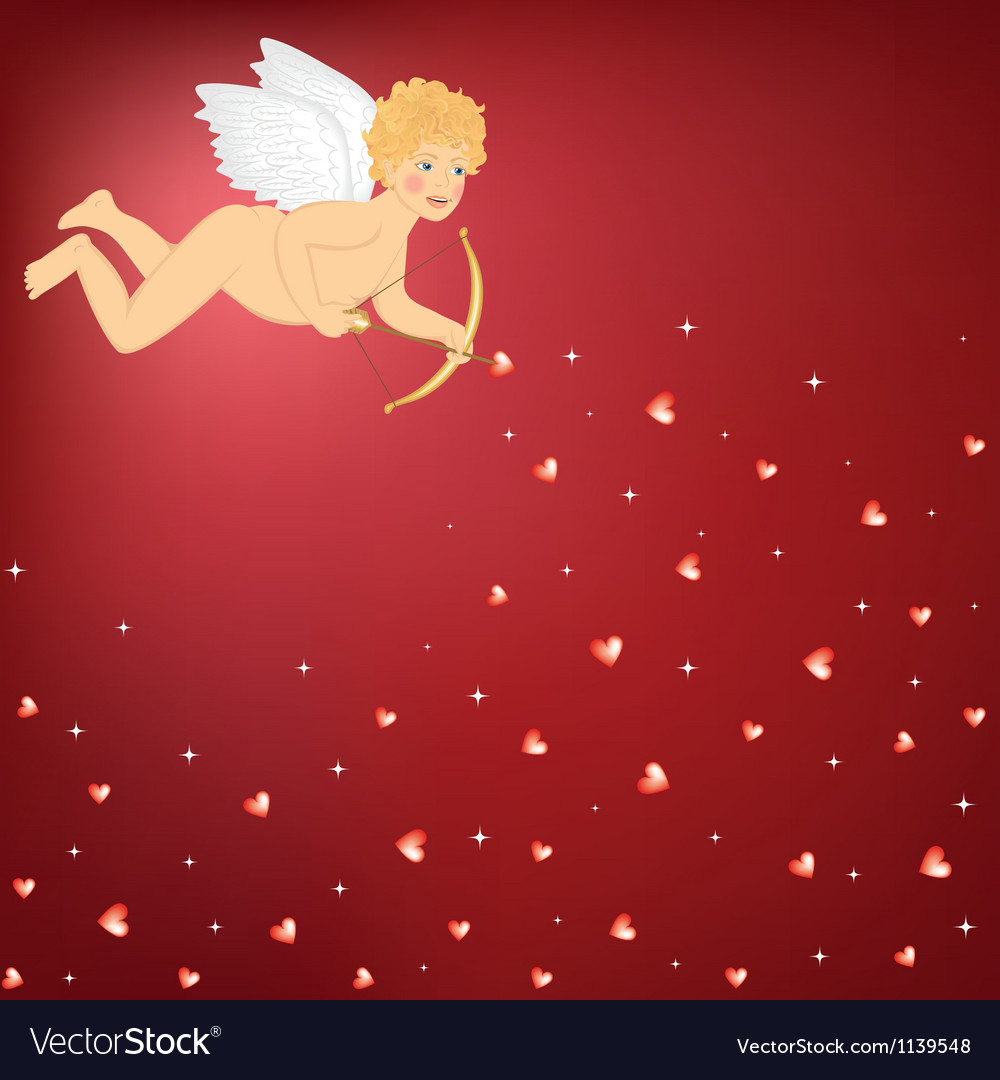 Cupid and hearts vector image