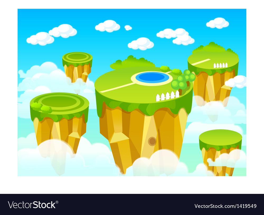 Green landscape mountain top vector image