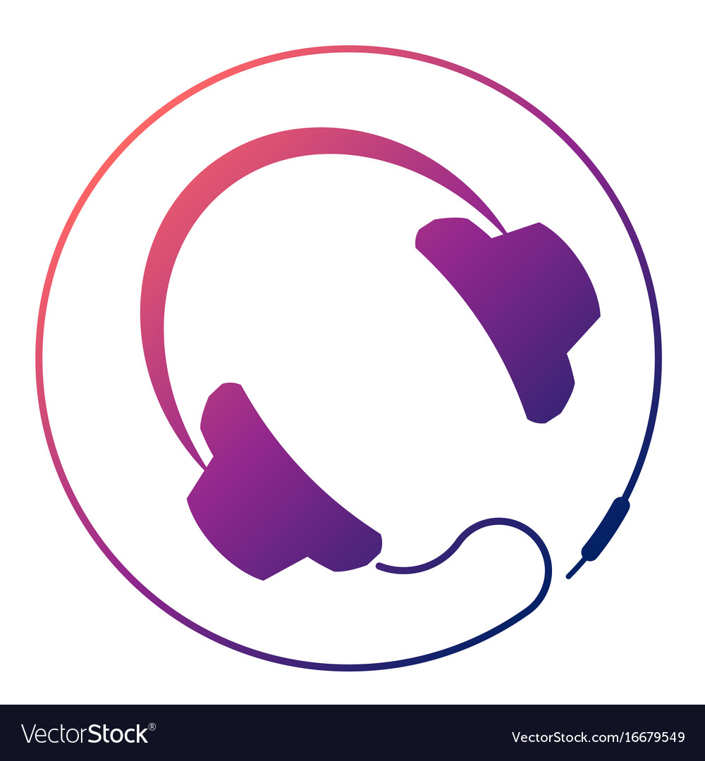 Headphones round icon vector image