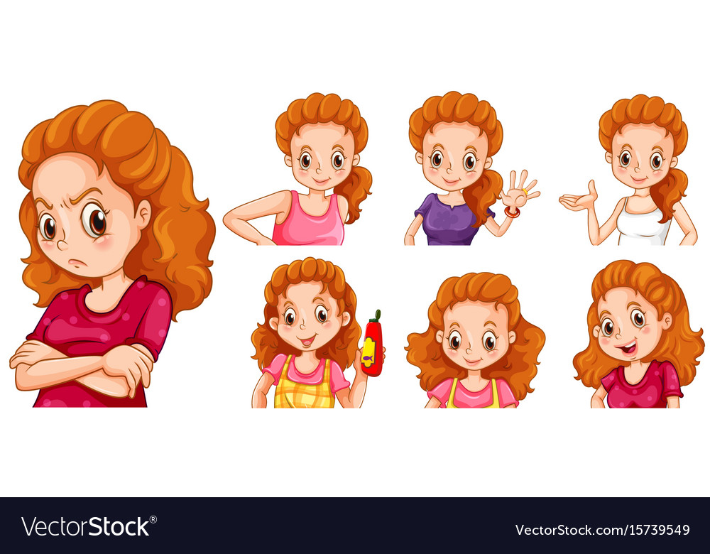 Woman with different actions vector image