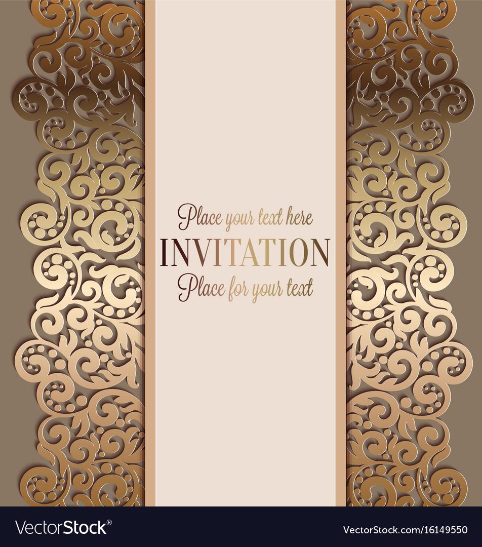 Antique luxury wedding invitation gold on beige vector image antique luxury wedding invitation gold on beige vector image monicamarmolfo Gallery