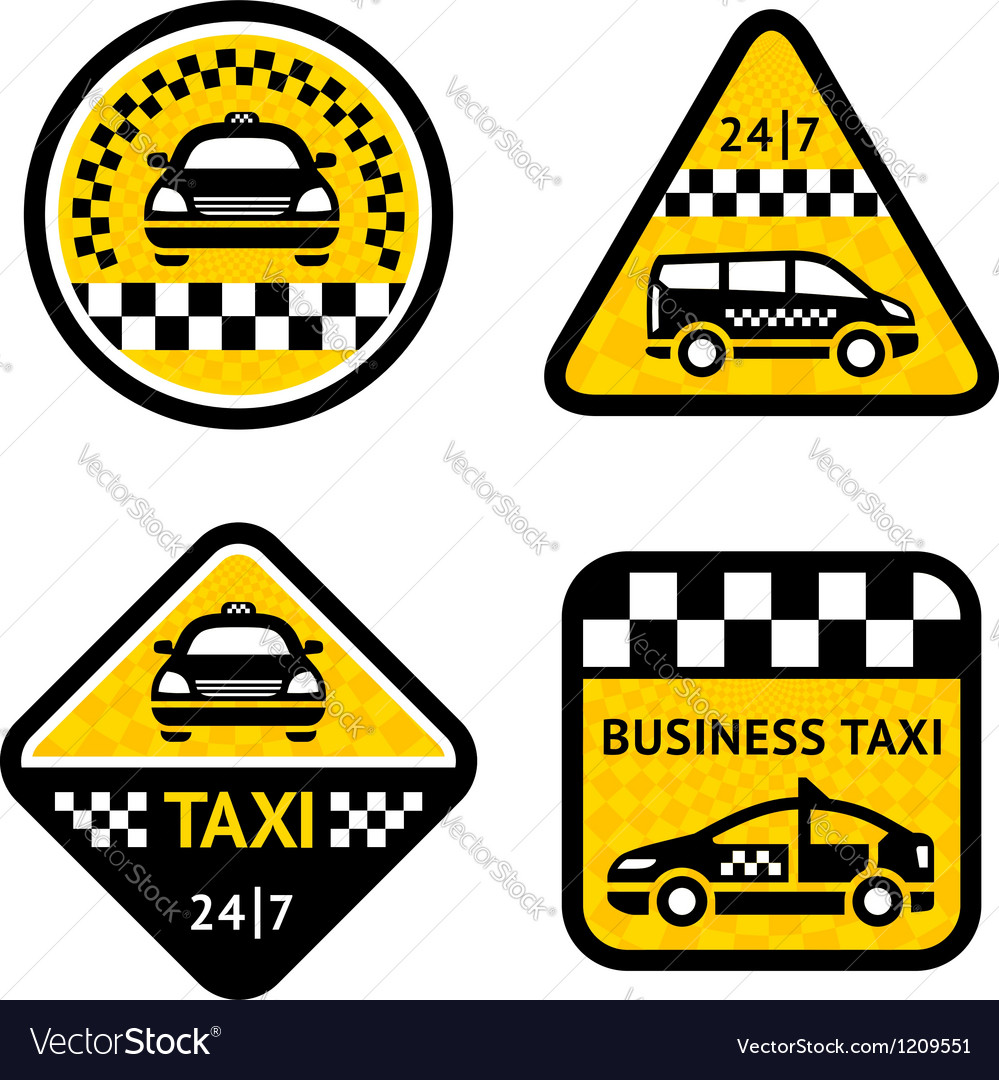 Taxi - set four stickers vector image