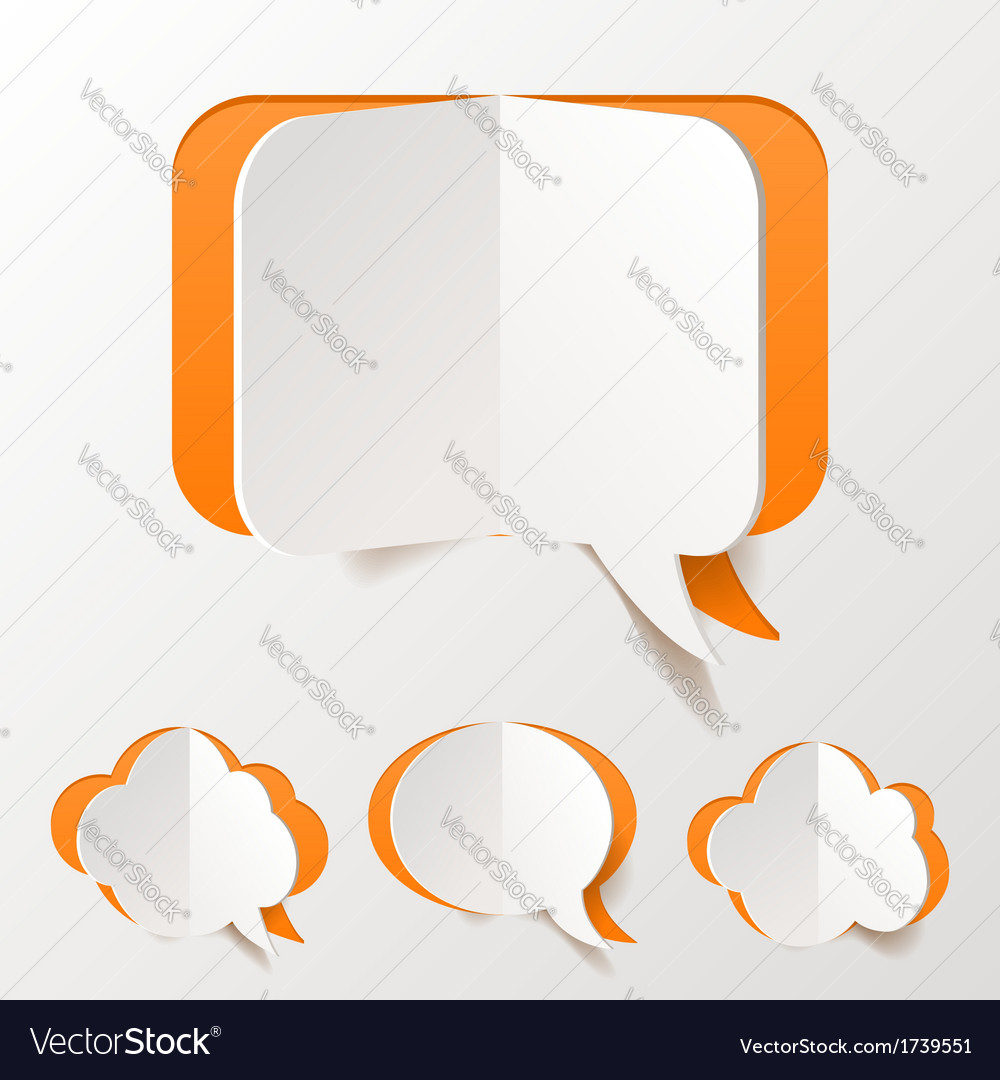 Abstract Orange Speech Bubble Set Cut of Paper vector image