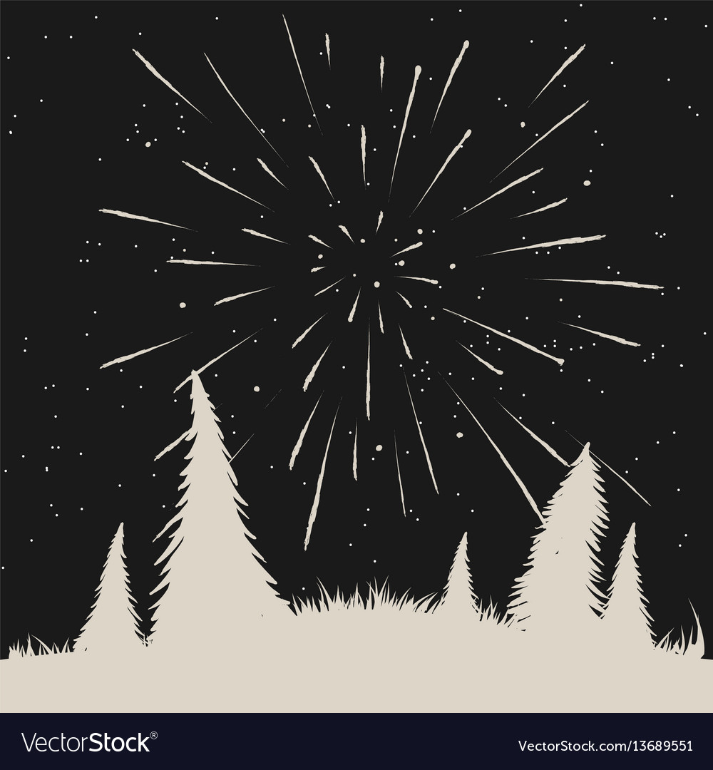 Starfall on night sky in forest vector image
