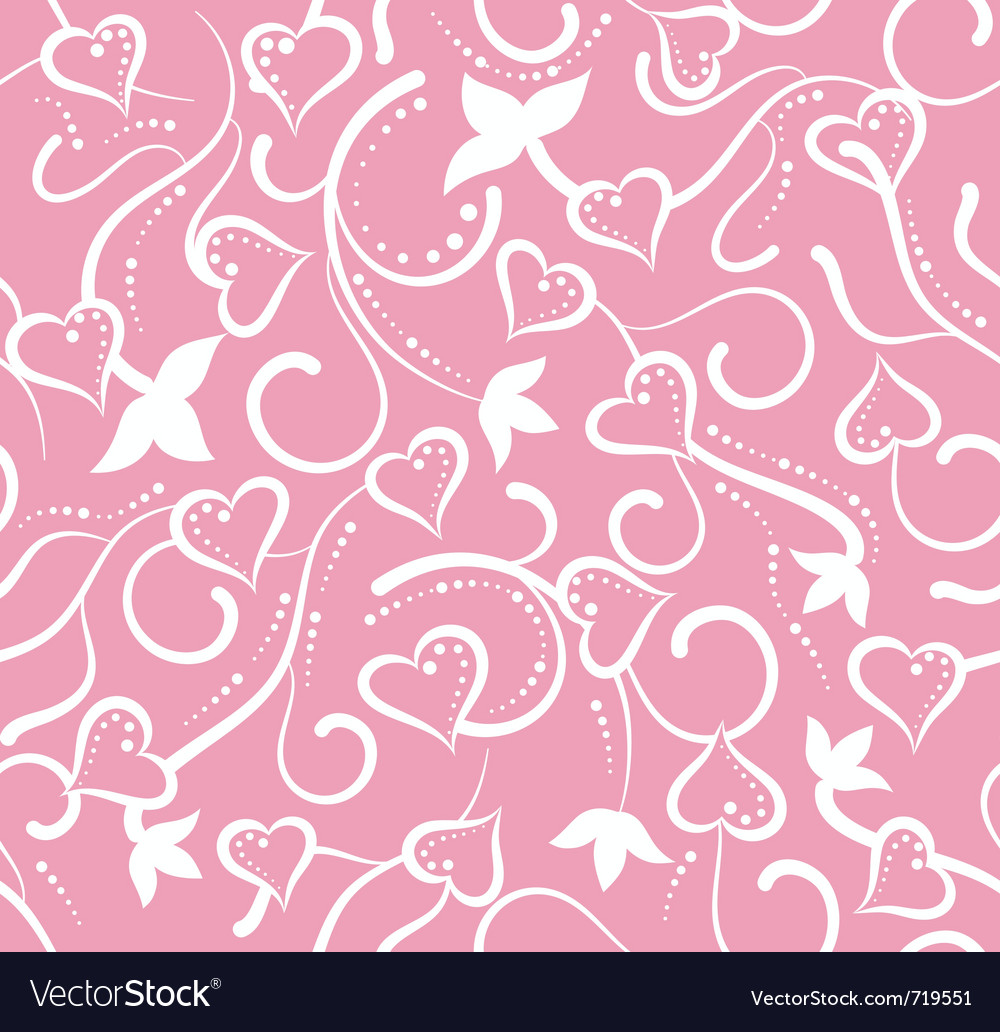 Valentines day pink floral seamless with hearts vector image