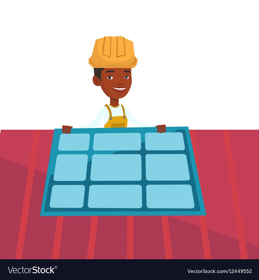 Technician installing solar panel vector image