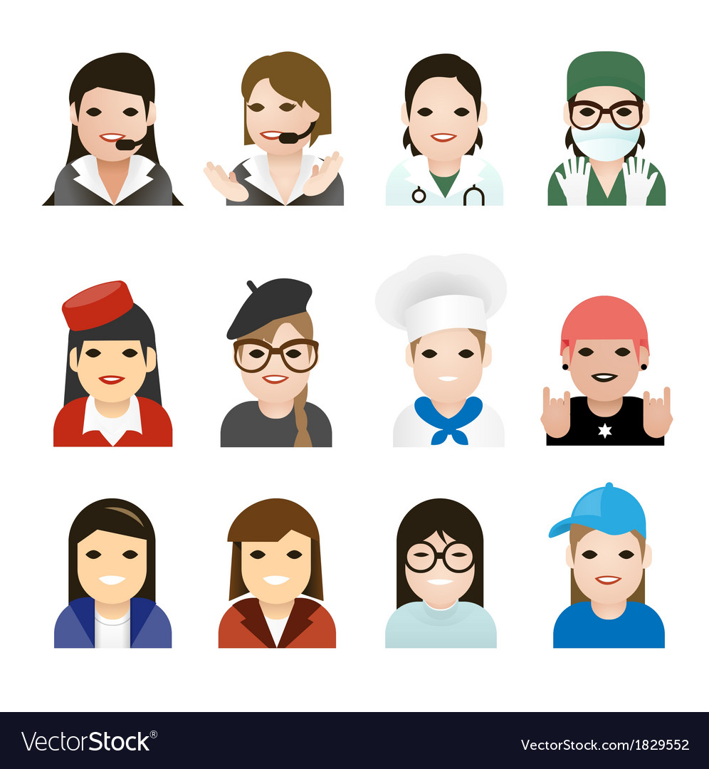 User woman jobs icons vector image