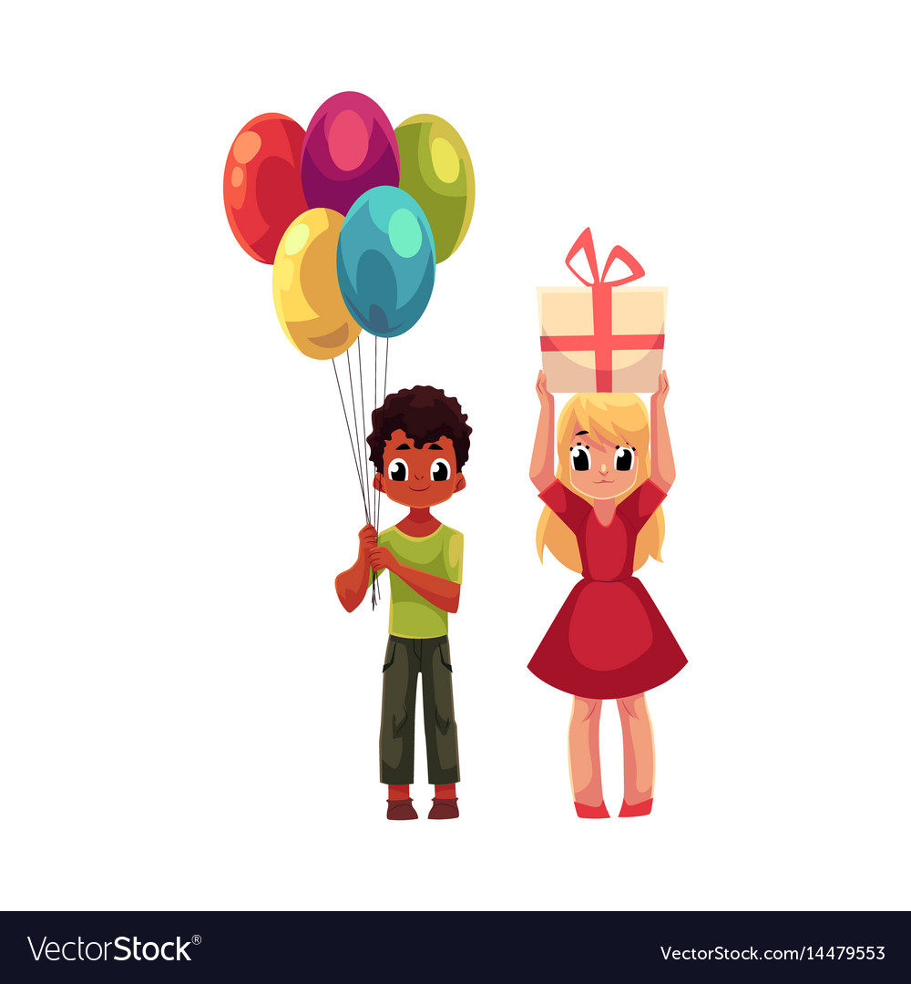 Black boy with balloons and blond girl holding vector image