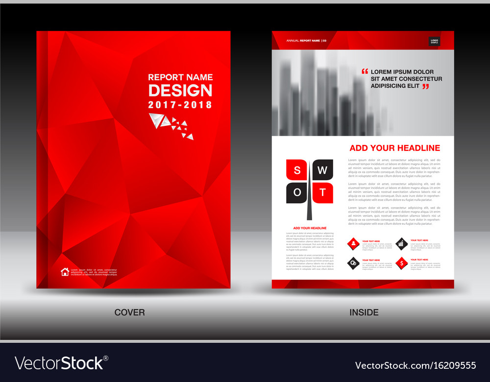 Annual Report Brochure Flyer Template Red Cover Vector Image