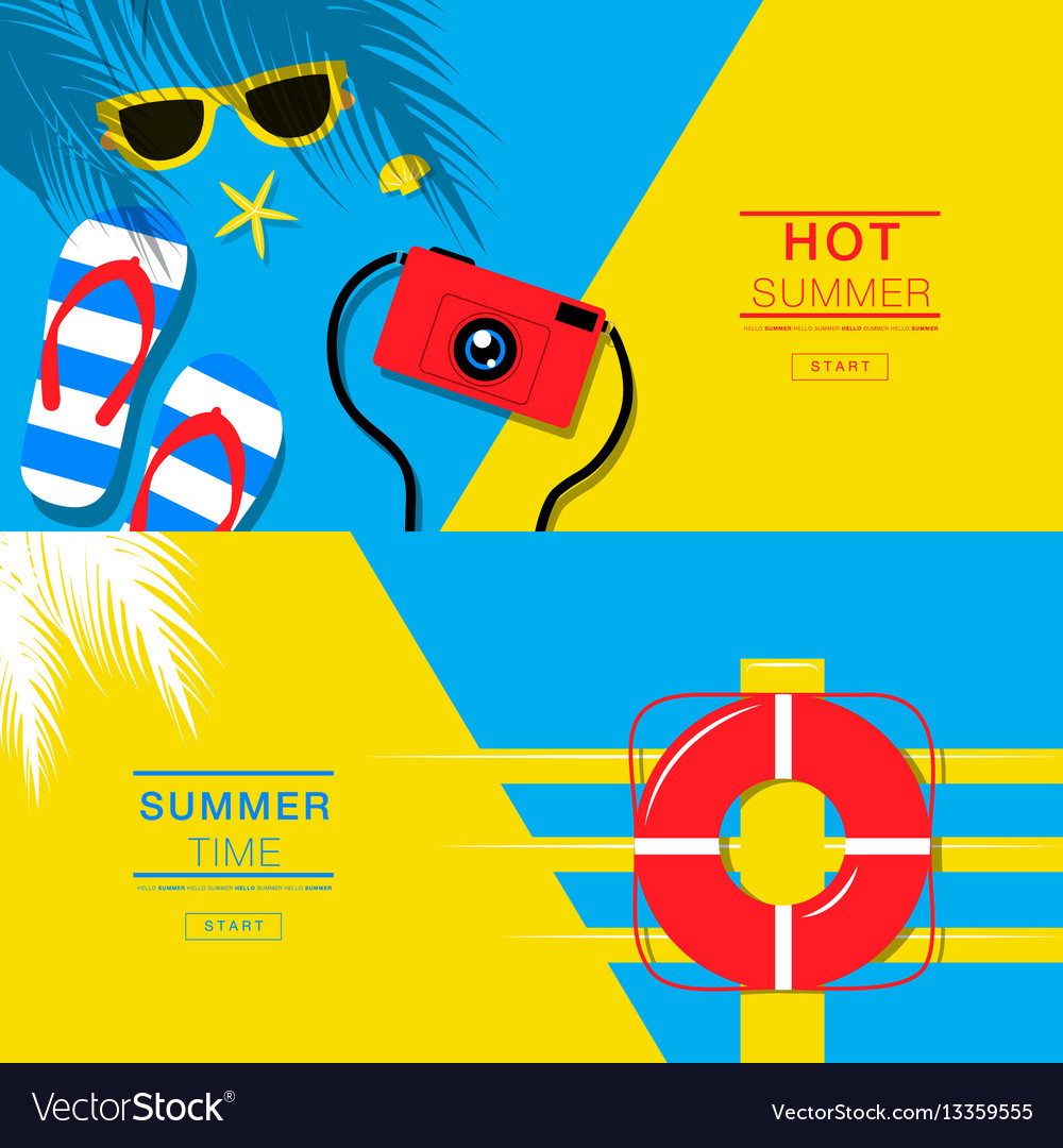 Summer tropical vacation backgrounds design vector image