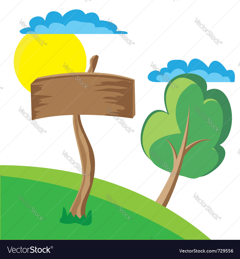 Wooden board sign with clouds sun and tree Vector Image