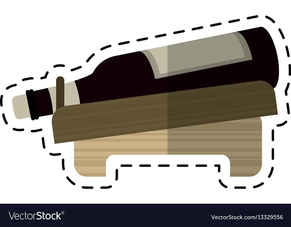 Cartoon bottle wine alcohol beverage vector image