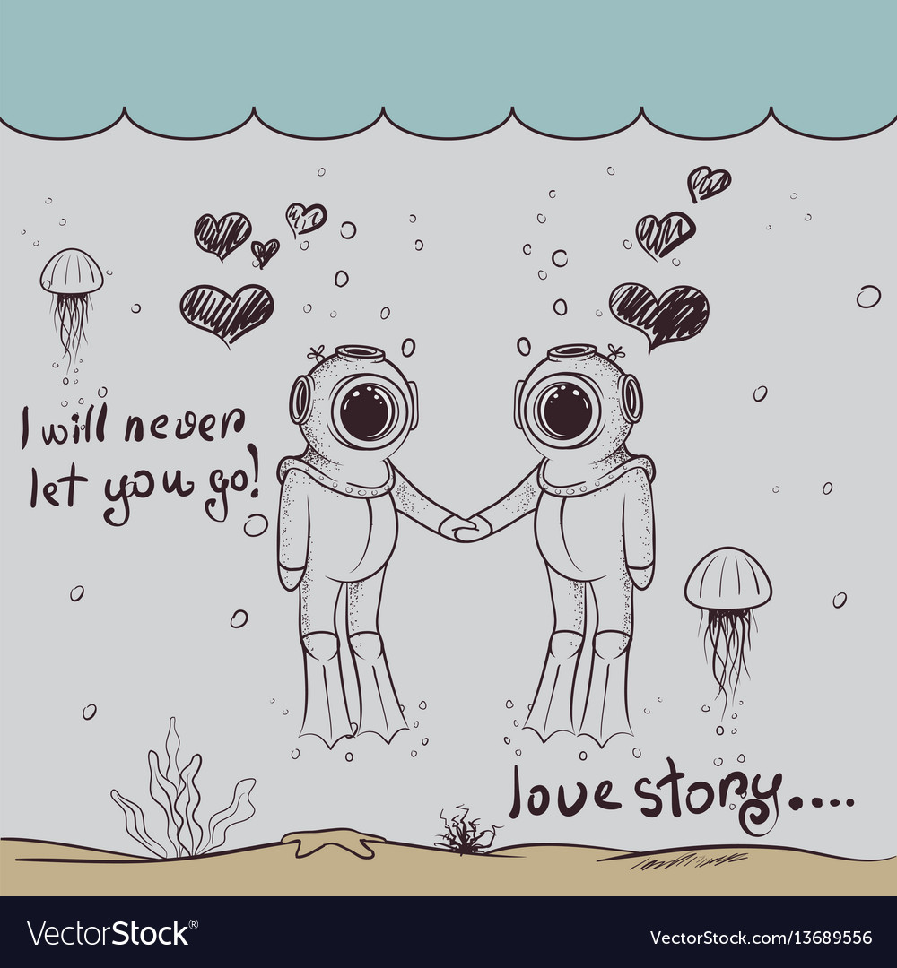 Cute love of two divers-boy and girl vector image